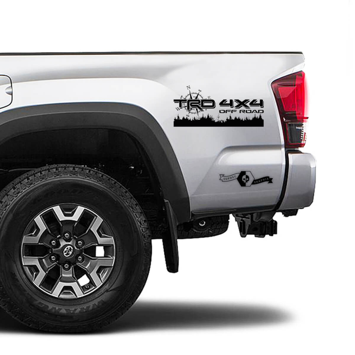 TRD 4x4 Off Road TOYOTA Field Forest Compass Rose of Wind Decals Stickers for Tacoma Tundra 4Runner Hilux side