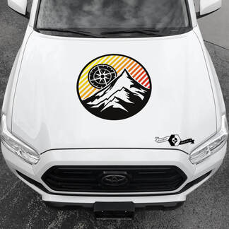 Tacoma TRD Sunrise Vintage TOYOTA Mountains Compass Wind Rose Hood Decals Stickers for Tacoma Tundra 4Runner Hilux