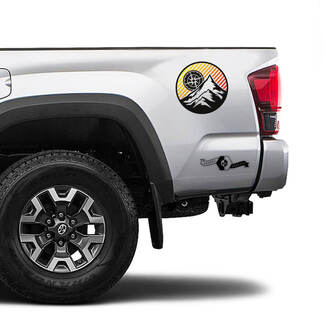 2 Tacoma TRD Sunrise Vintage TOYOTA Mountains Compass Wind Rose Side Decals Stickers for Tacoma Tundra 4Runner Hilux