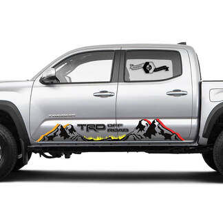 Pair TRD Off Road Rocker Panel Mountain Vinyl Stickers Vintage TOYOTA Colors Decals Stickers for Tacoma Tundra 4Runner Hilux