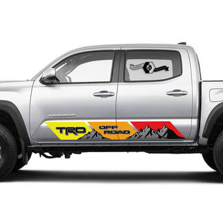 2 side TRD Off Road Rocker Panel Mountain Vinyl Stickers Vintage TOYOTA Colors Decals Stickers for Tacoma Tundra 4Runner Hilux