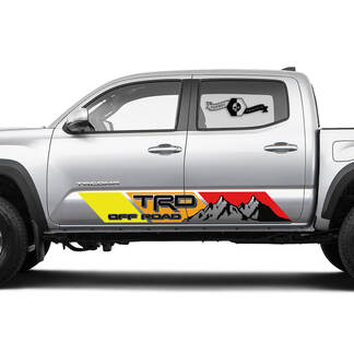 2 side TRD Mountain Off Road Rocker Panel Vinyl Stickers Vintage TOYOTA Colors Decals Stickers for Tacoma Tundra 4Runner Hilux