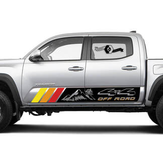 2 side TRD Mountain Off Road 4x4 Rocker Panel Vinyl Stickers Compass Wind Rose TOYOTA Colors Decals Stickers for Tacoma Tundra 4Runner Hilux