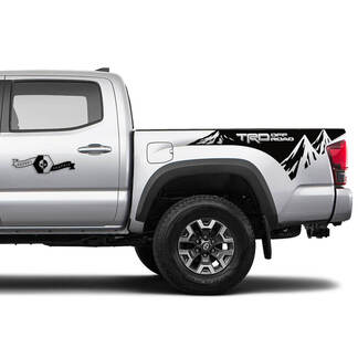 Pair TRD Off Road Side Tailgate Bed Mountain Vinyl Stickers TOYOTA Colors Decals Stickers for Tacoma Tundra 4Runner Hilux