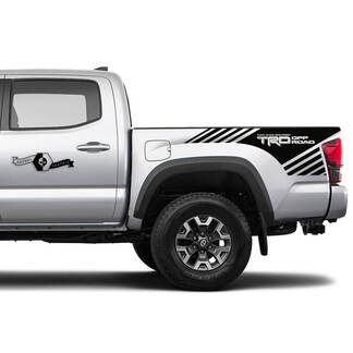Pair TRD Off Road Side Tailgate Bed Strobe Vinyl Stickers TOYOTA Colors Decals Stickers for Tacoma Tundra 4Runner Hilux