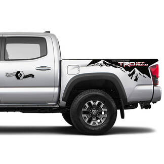 2 TRD Off Road Side Tailgate Bed Mountain Vinyl Stickers TOYOTA shadow Decals Stickers for Tacoma Tundra 4Runner Hilux