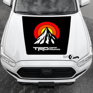 Tacoma TRD Sunrise Vintage TOYOTA Off Road Mountains Peak Summit Hood Decals Stickers for Tacoma Tundra 4Runner Hilux