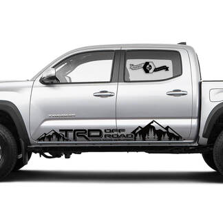 TRD TOYOTA Rocker Panel Mountain Forest stripes Decals Stickers for Tacoma Tundra 4Runner Hilux Doors