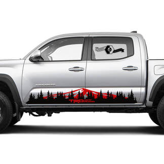 TRD TOYOTA Mountains and Fores Trees Decals Stickers for Tacoma Tundra 4Runner Hilux Rocker Panel